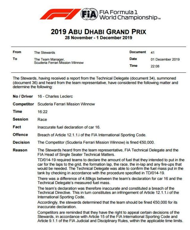 Ferrari écope d'une amende 50 000 euros pour avoir divulgué de mauvaises informations à la FIA